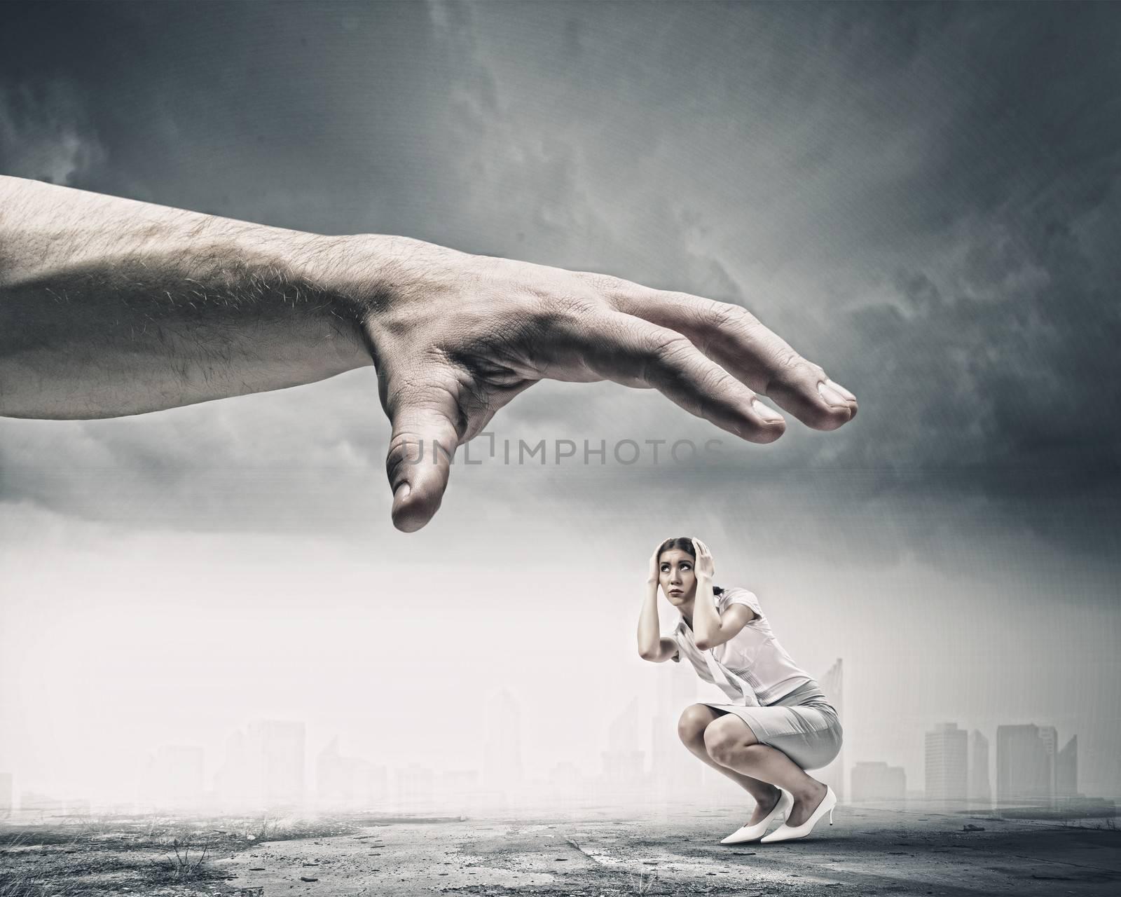 Big human hand catching businesswoman. Professional relations