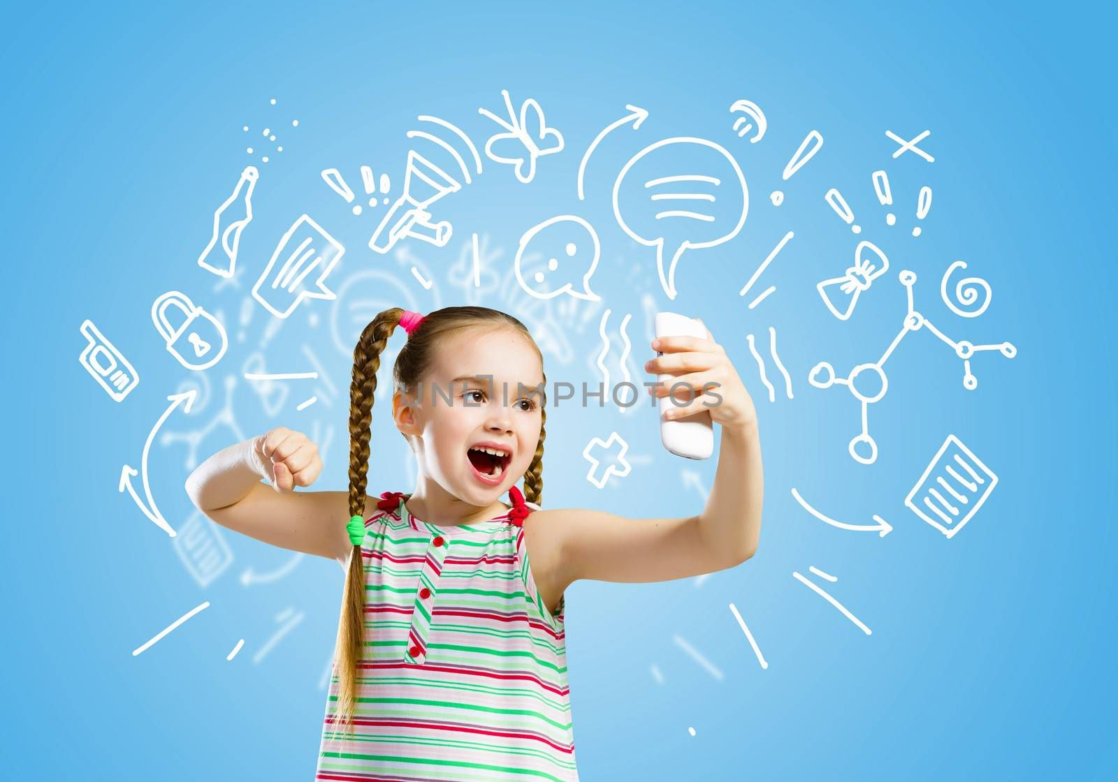 Image of little angry girl shouting in mobile phone