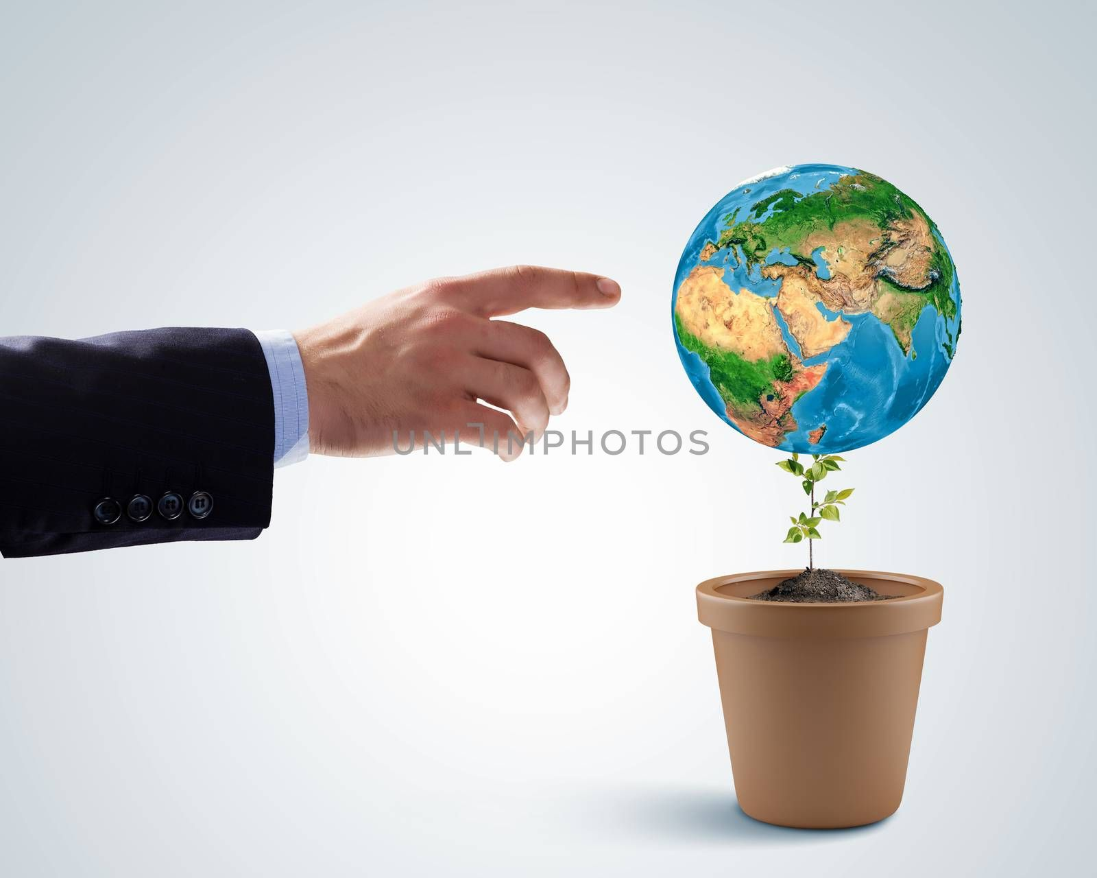 Earth planet in pot. Ecology concept. Elements of this image are furnished by NASA
