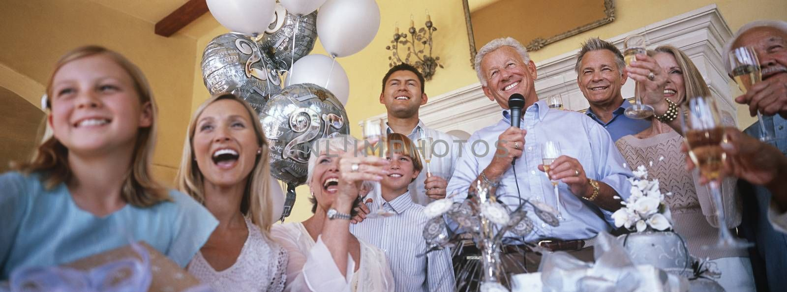 Family celebrating at party