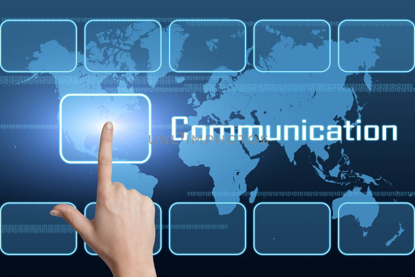 Communication concept with interface and world map on blue background