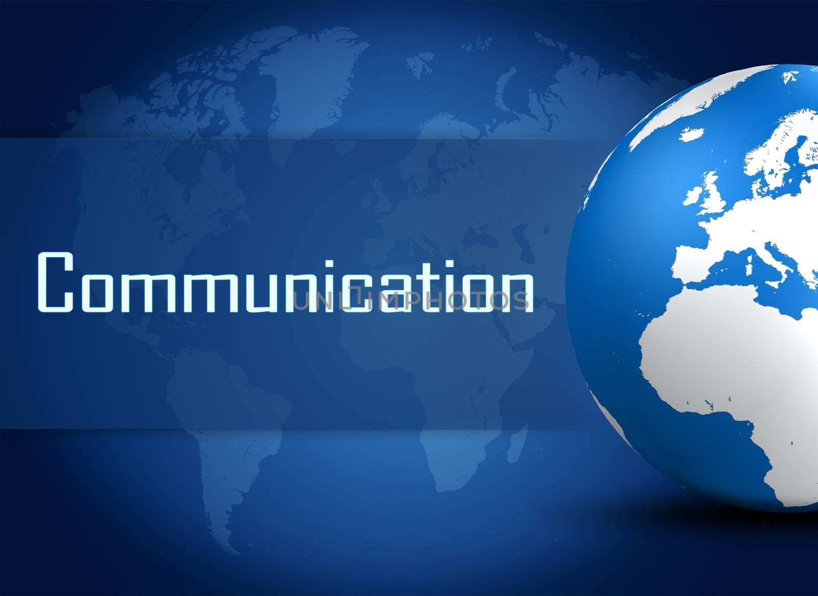 Communication concept with globe on blue background