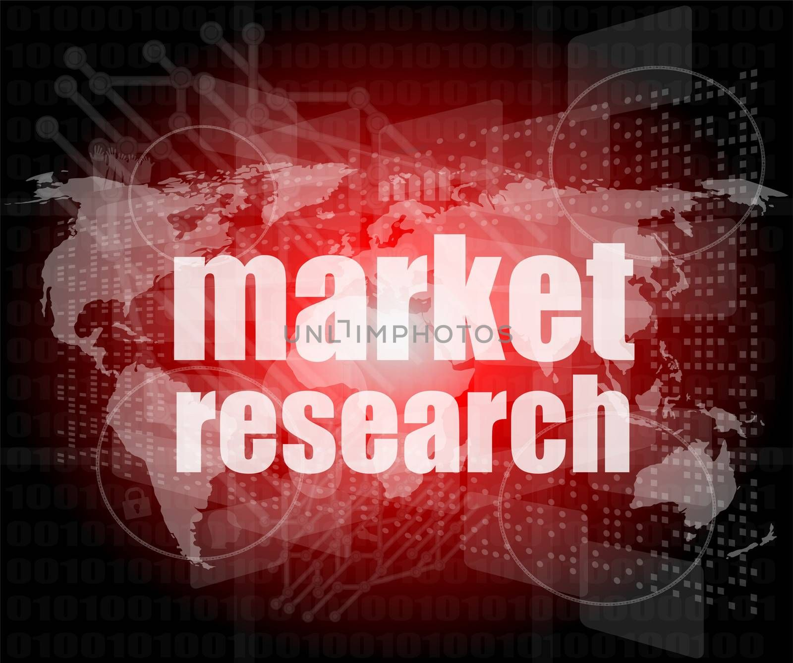 market research word on touch screen, modern virtual technology background
