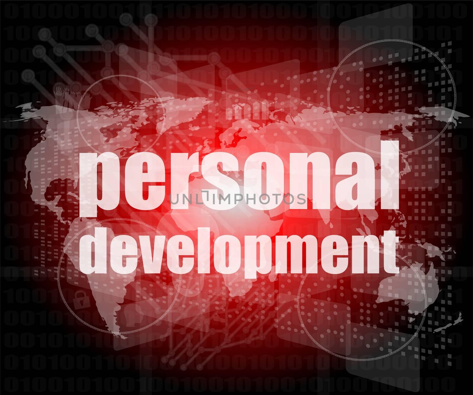 word personal development on digital screen 3d