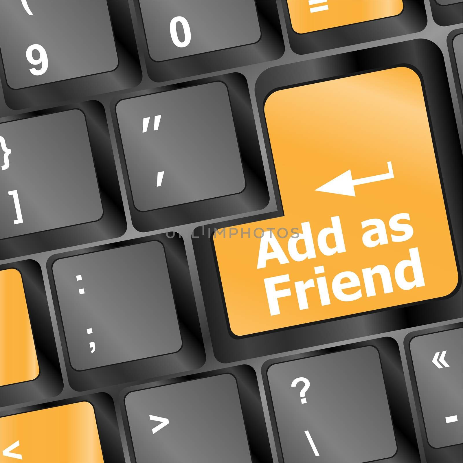 Social media or social network concept: Keyboard with Add As Friend button