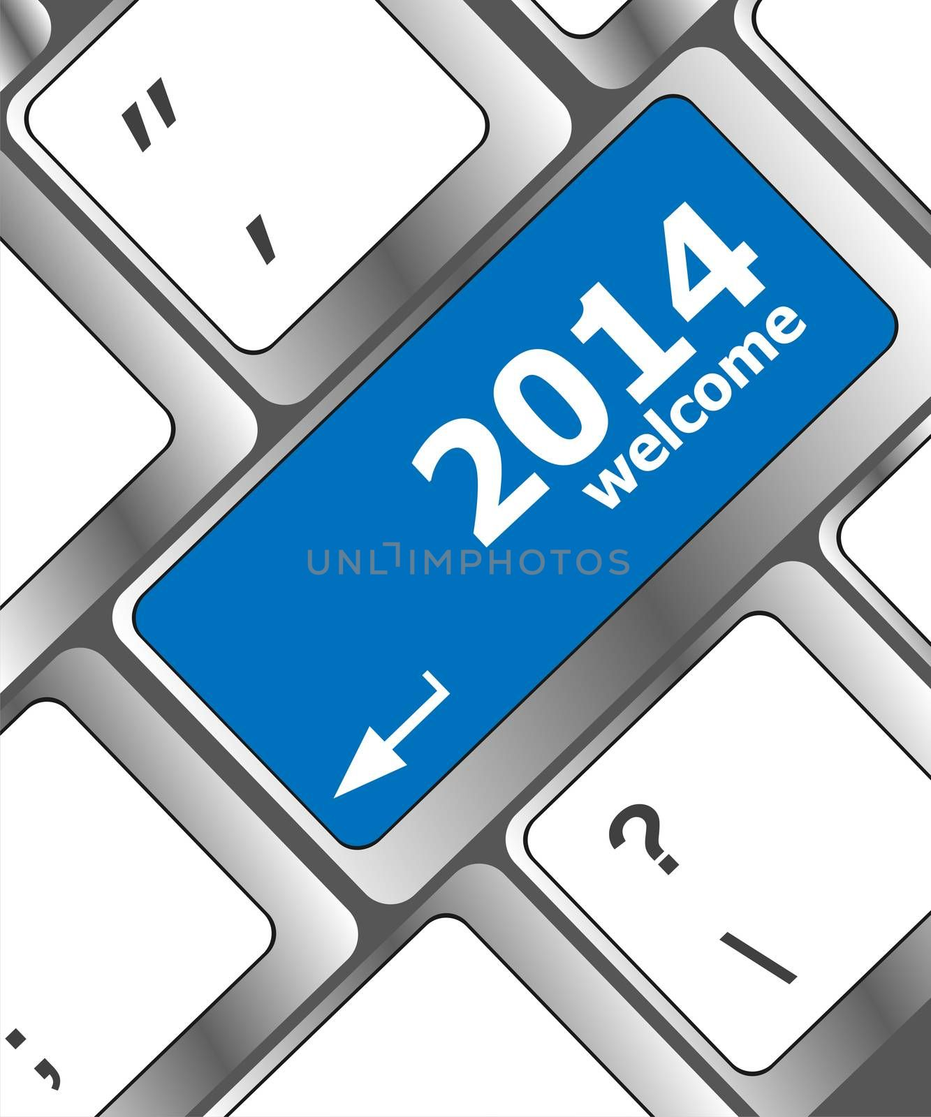 New year concept: welcome 2014 key on the computer keyboard