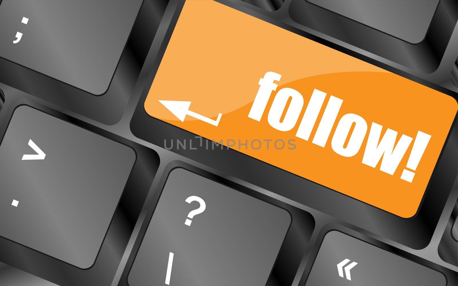 Social media or social network concept: Keyboard with follow button
