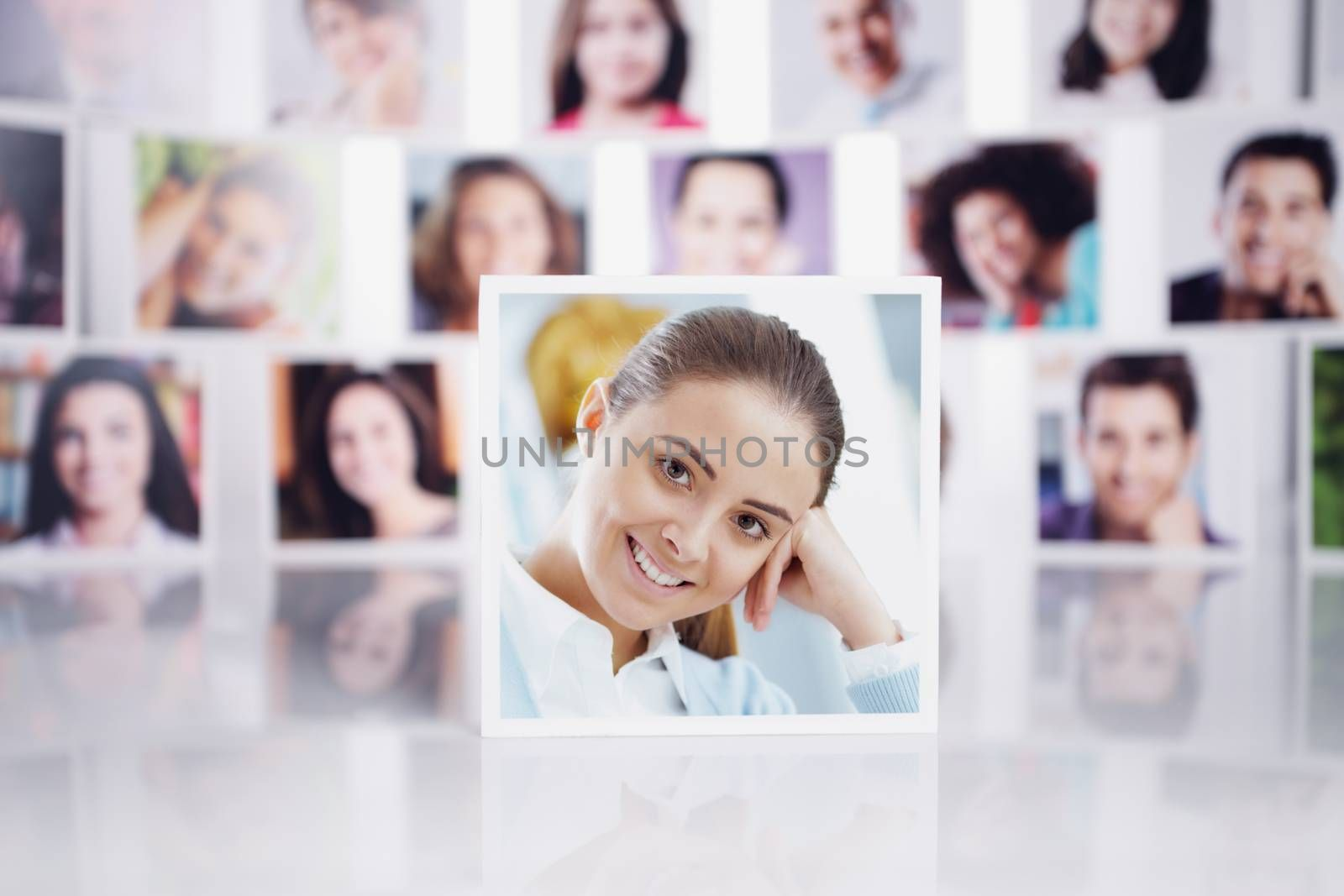 Conceptual portraits of a group of people with smiling woman in foreground