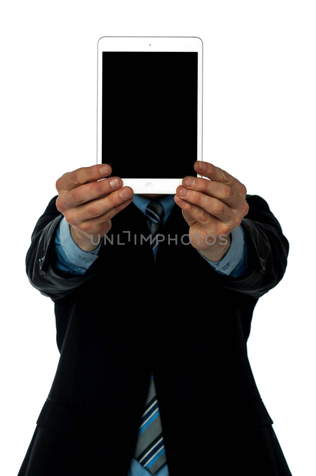 Businessman showcasing tablet device