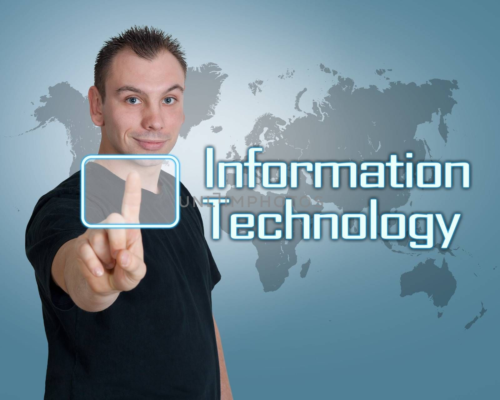 Young man press digital Information Technology button on interface in front of him
