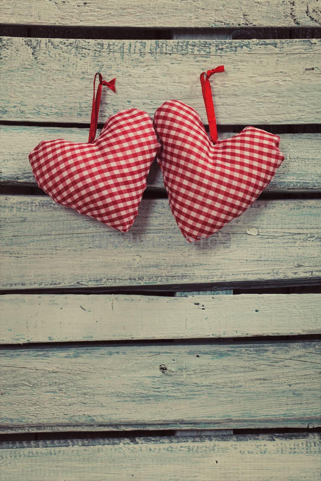 Valentines Vintage  handmade hearts over Wooden Background. Valentine over Wood. Retro wallpaper. Valentines Day