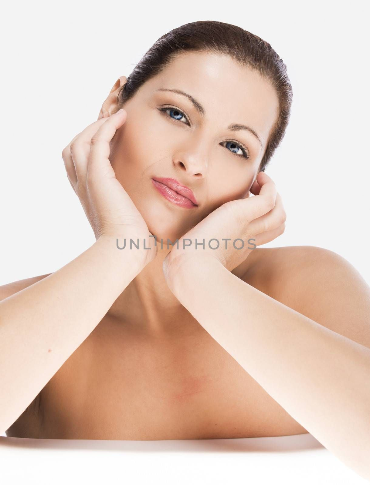 Portrait of a beautiful blonde woman, isolated on white background