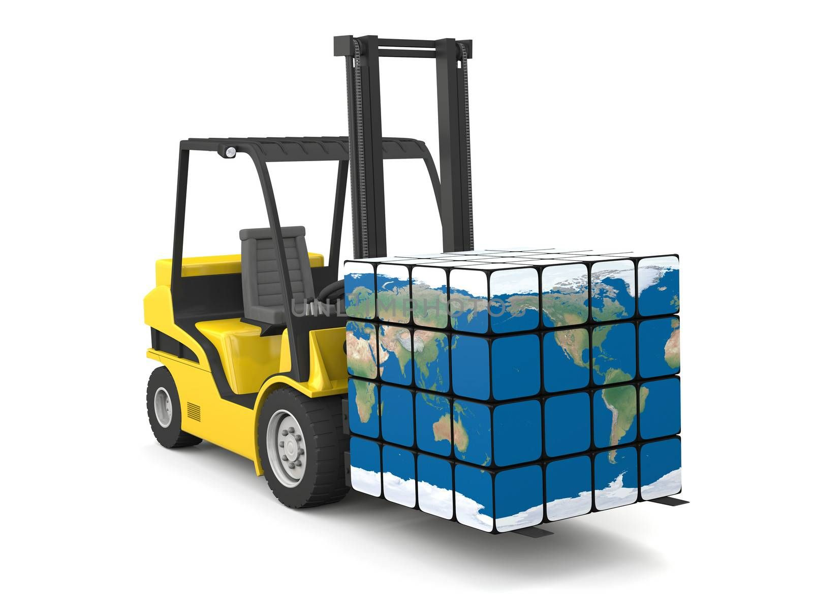 Concept of global transportation, modern yellow forklift carrying planet Earth in form of cube, isolated on white background. Elements of this image furnished by NASA.
