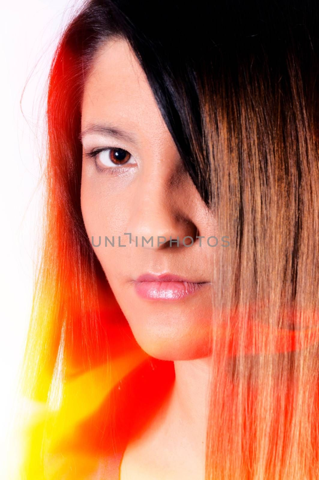Portrait of female with lens flare