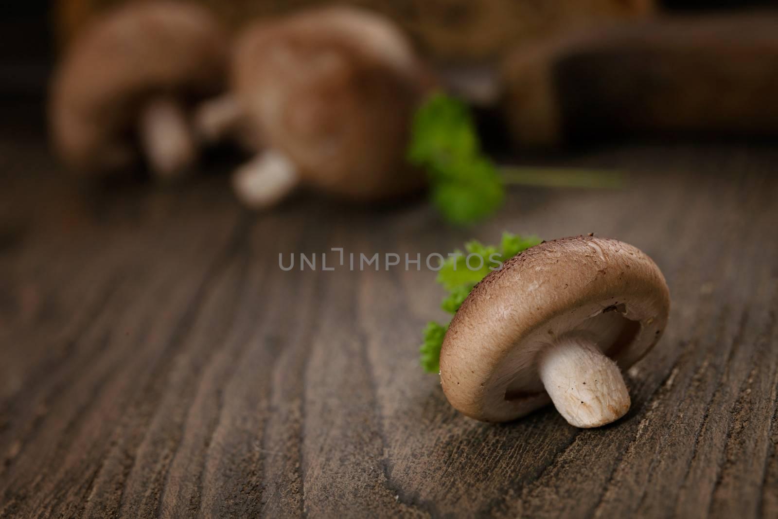 Cooking imgredients. Shiitake mushrooms on wood.