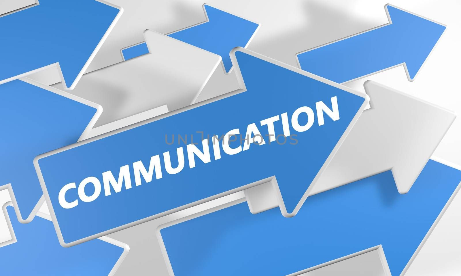 Communication 3d render concept with blue and white arrows flying over a white background.