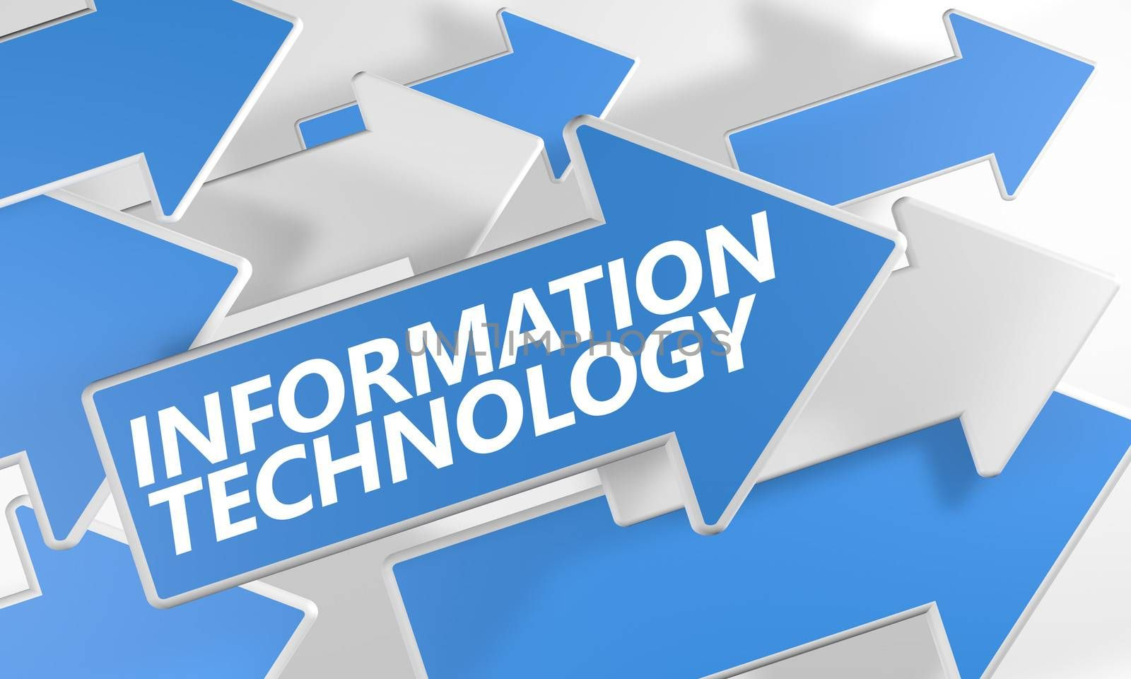 Information Technology 3d render concept with blue and white arrows flying over a white background.