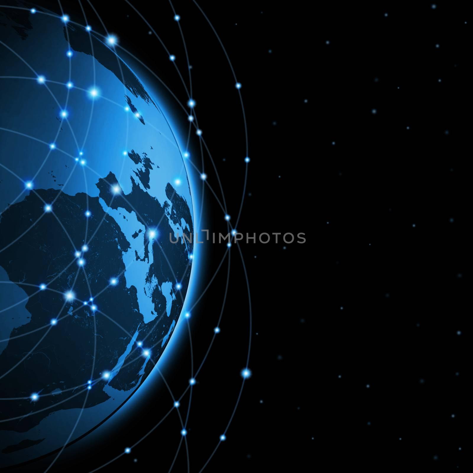 Globe and communication. Black background. concept communication