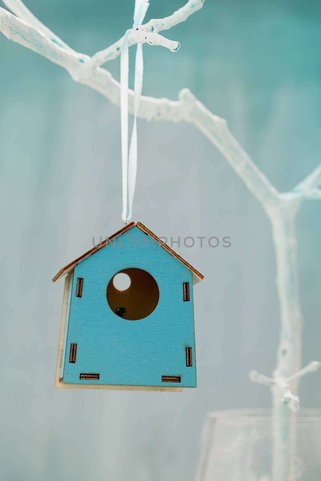 Spring decoration. Easter ornament.  Bird house