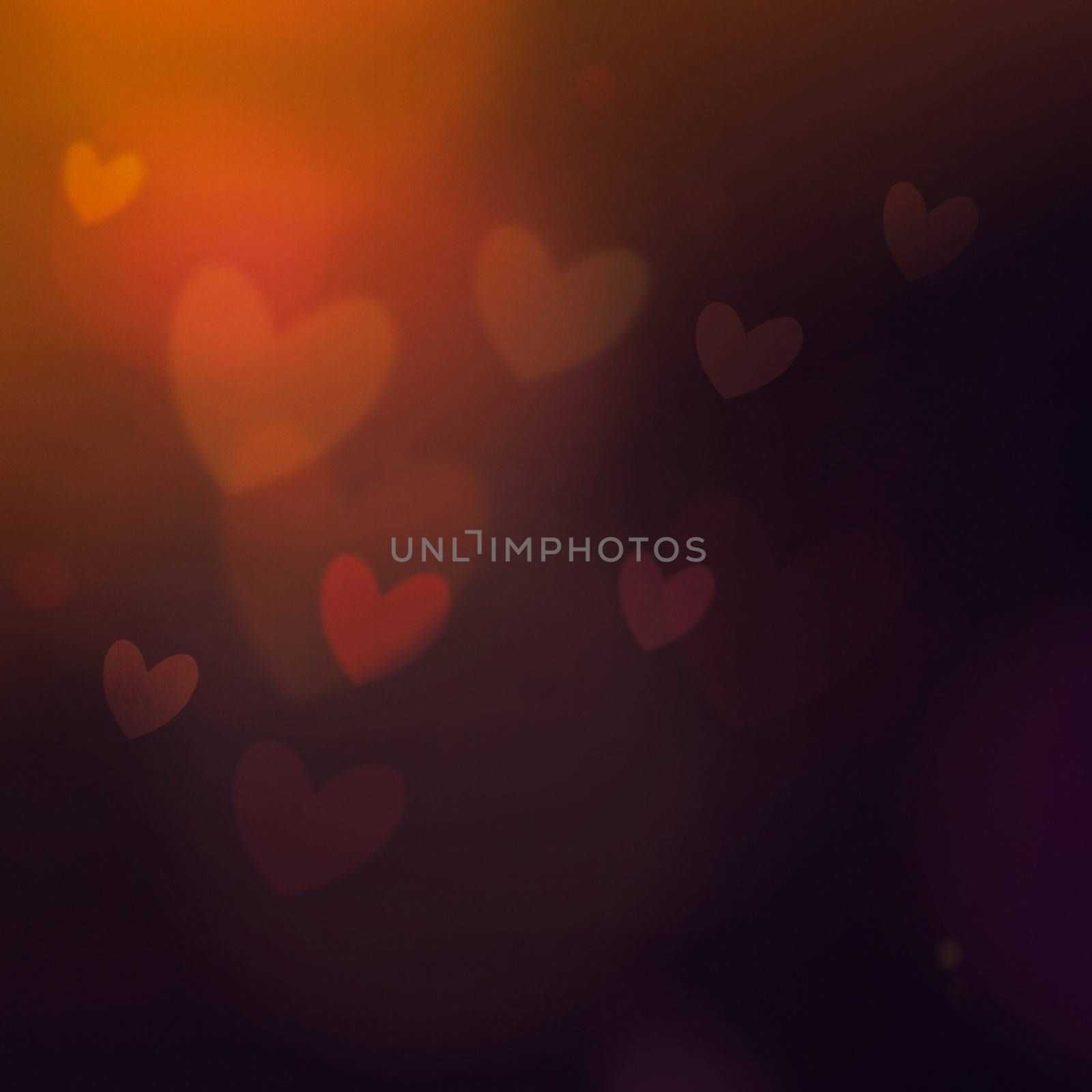 Dark Festive Valentine's day background. Elegant abstract background with bokeh defocused lights and hearts