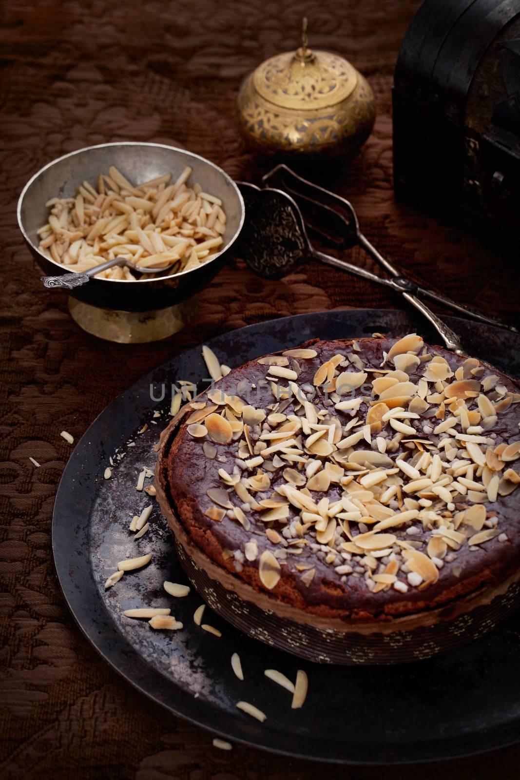 Chocolate pie. Vintage dessert tart with chocolate and almonds
