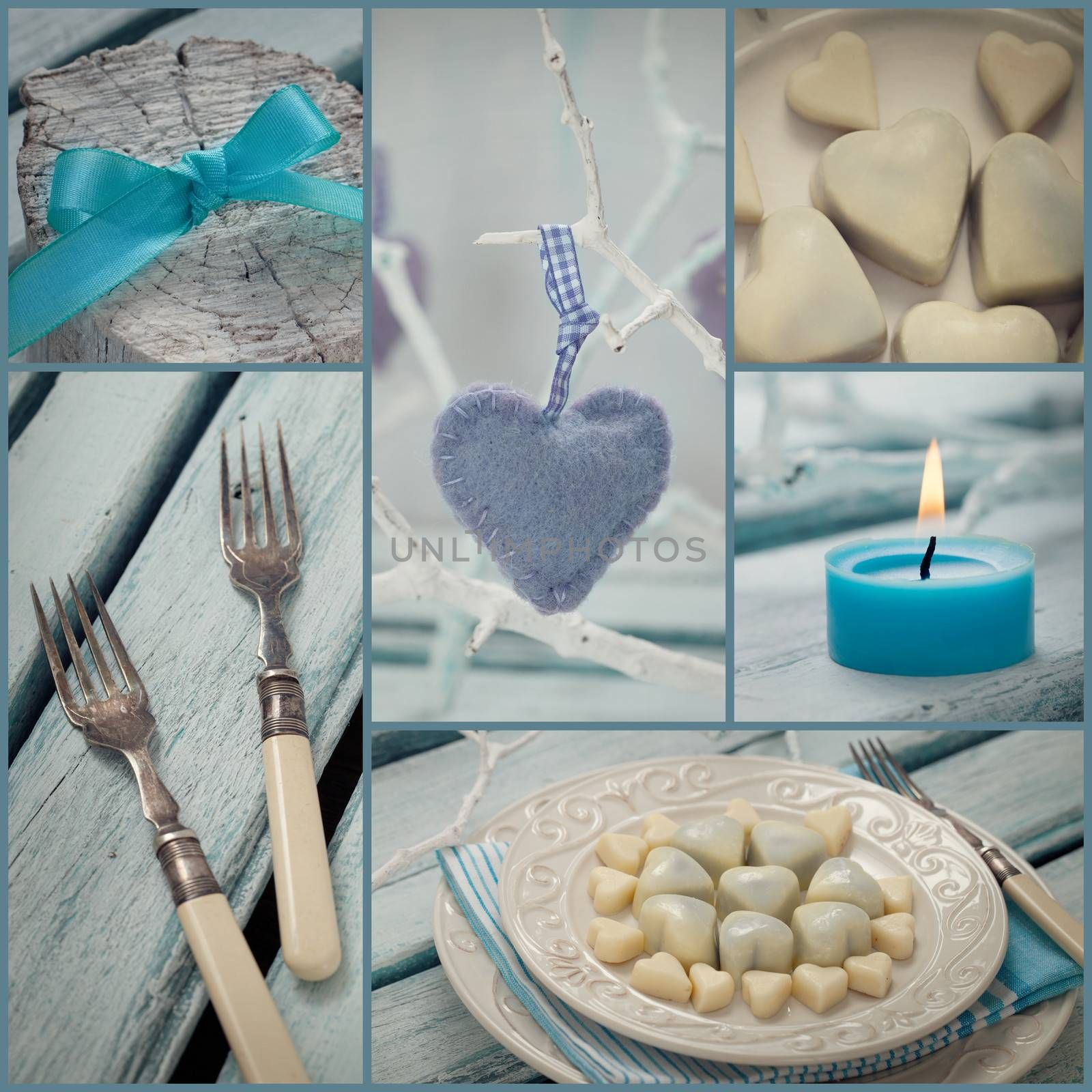 Restaurant series. Photo Collage of fancy Valentines dinner.  Mosaic with Holiday luxury table setting with hearts and chocolate
