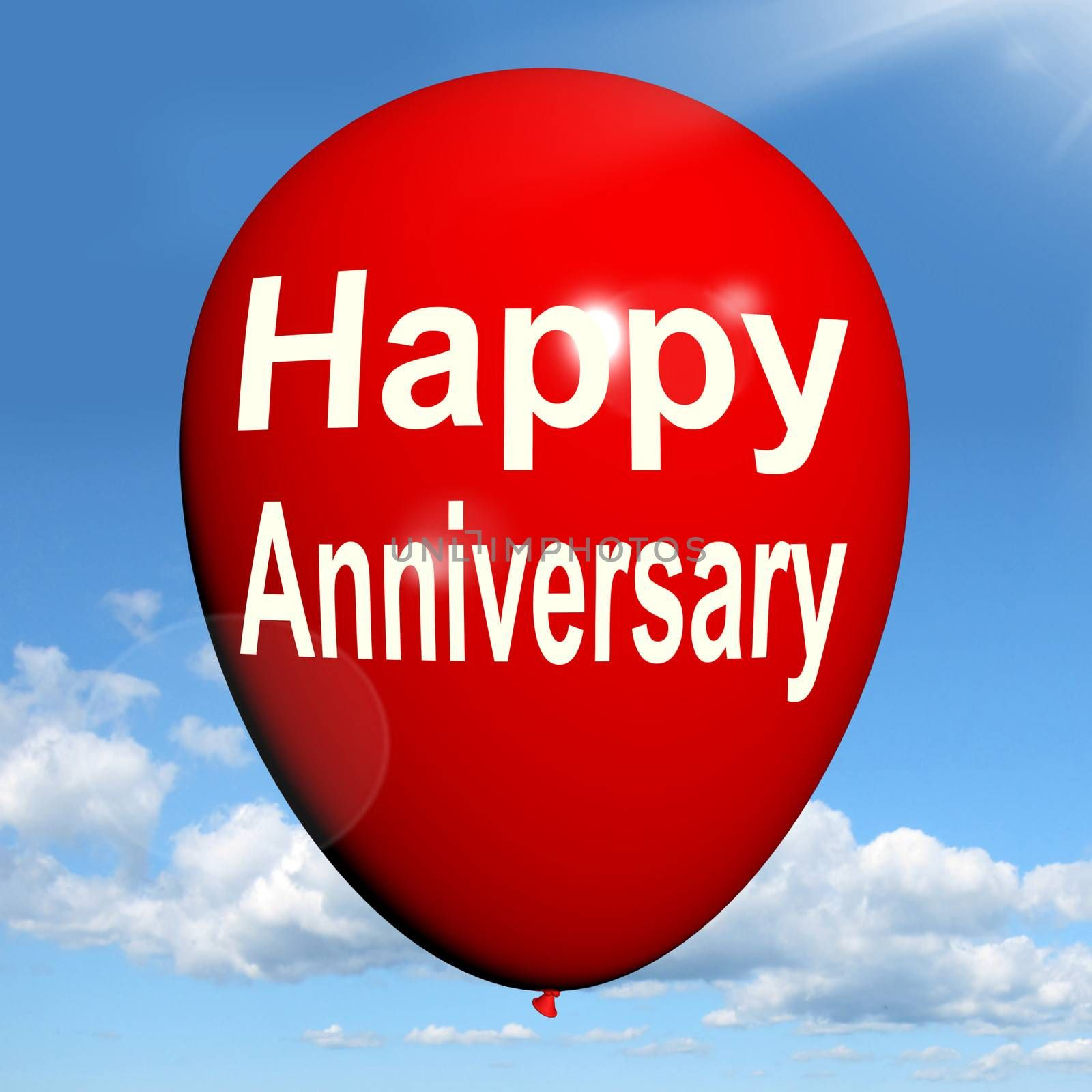 Happy Anniversary Balloon Showing Cheerful Festivities and Parties