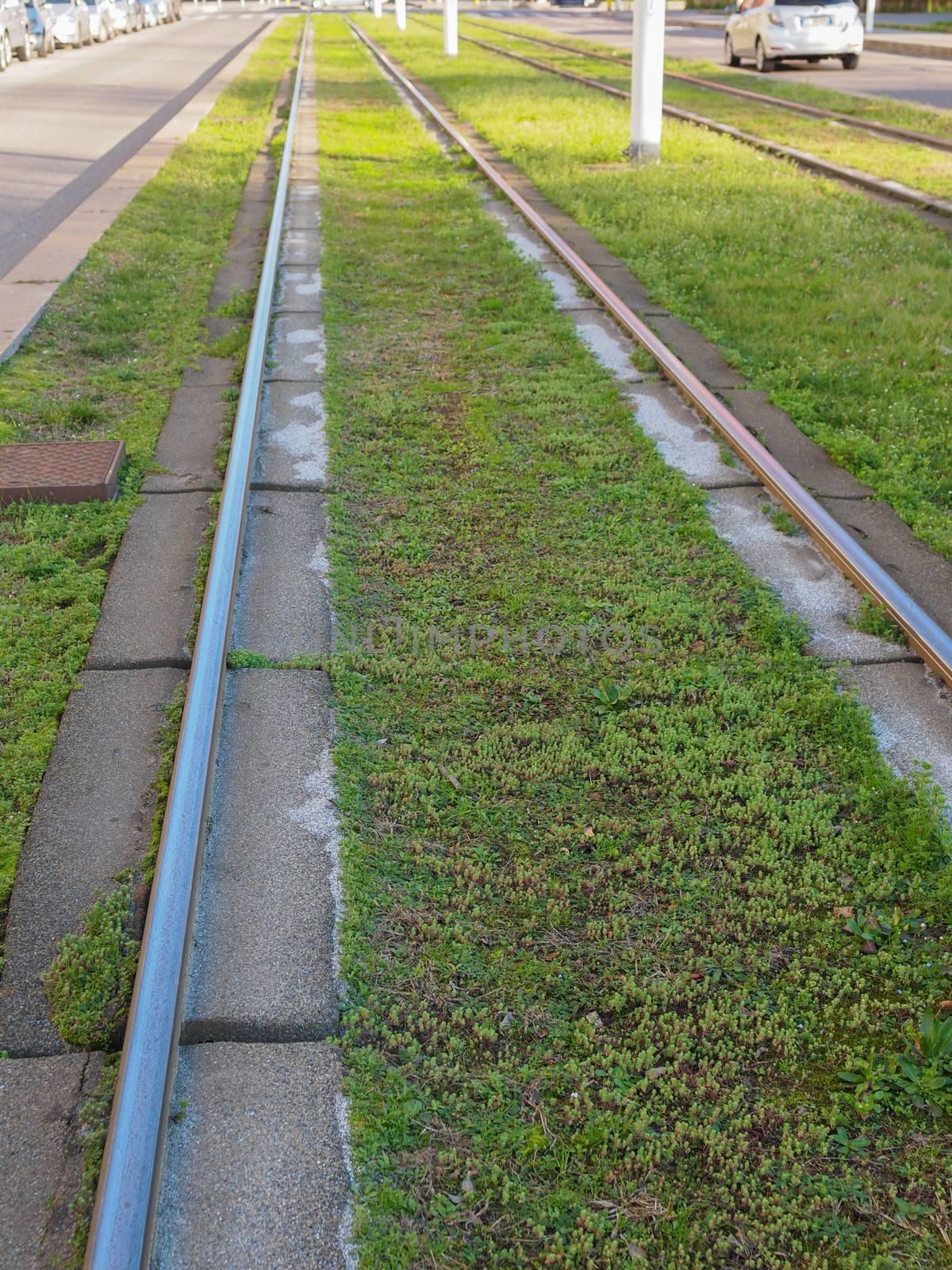 Railway or railroad tracks for train transportation