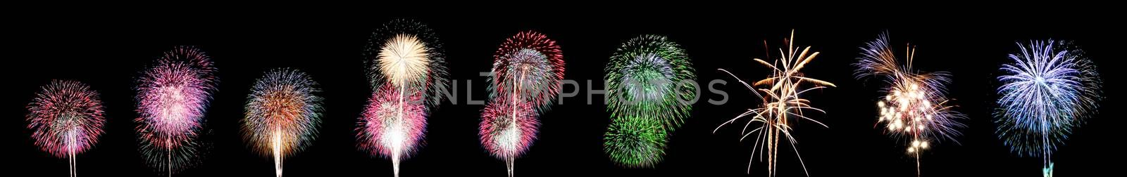 Nine style Variety of colors Fireworks or firecracker.
