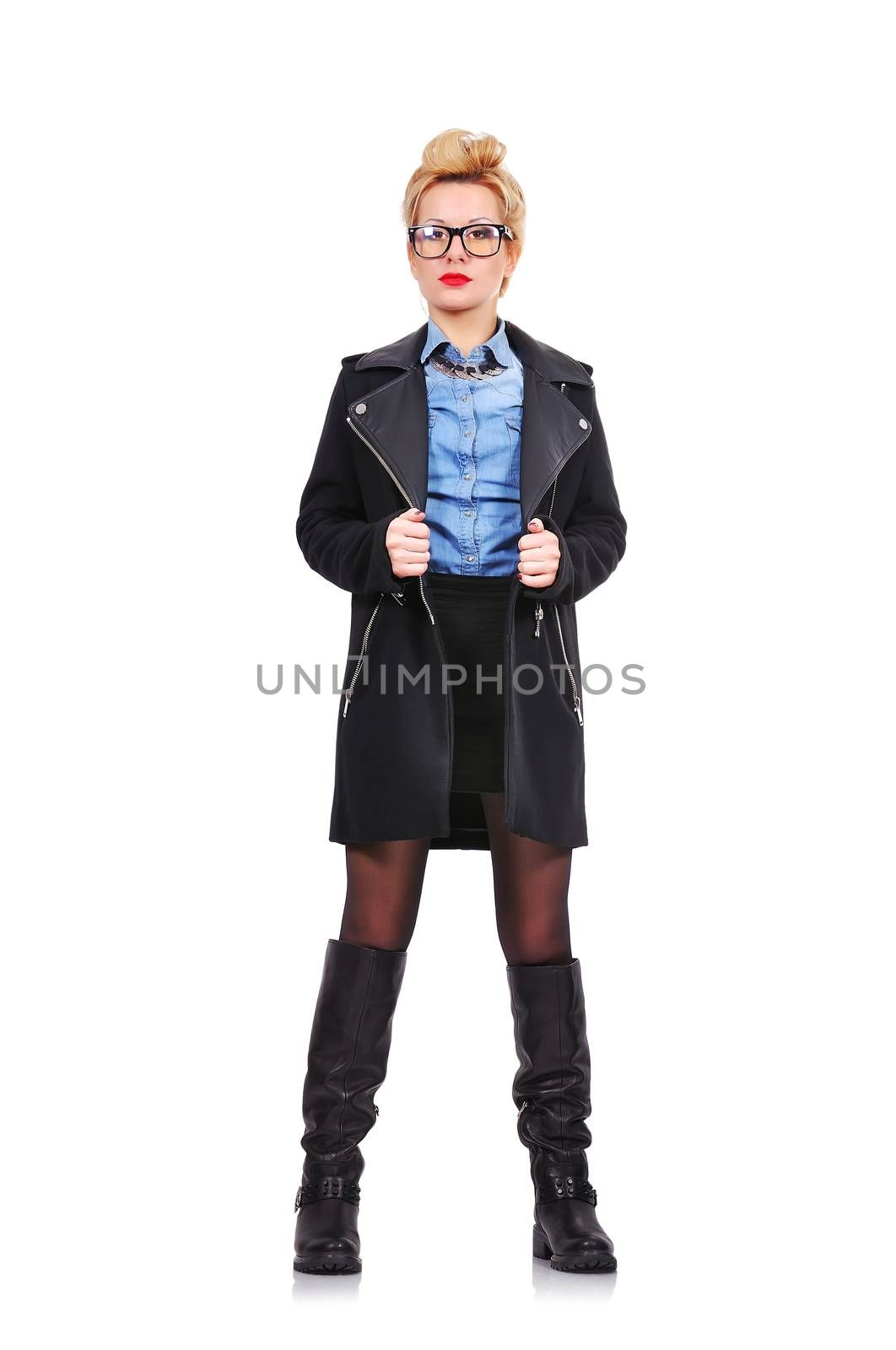 Fashion girl with coat in the studio