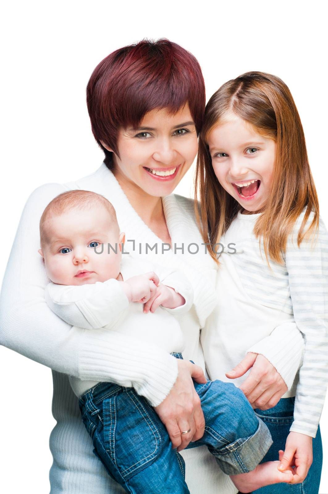 Smiling mother with her children