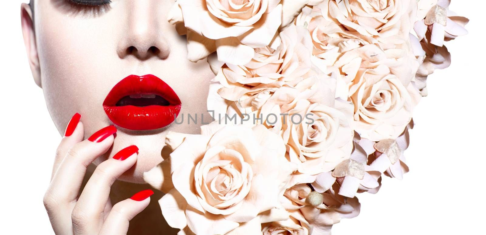 Fashion Sexy Woman with Flowers. Vogue Style Model