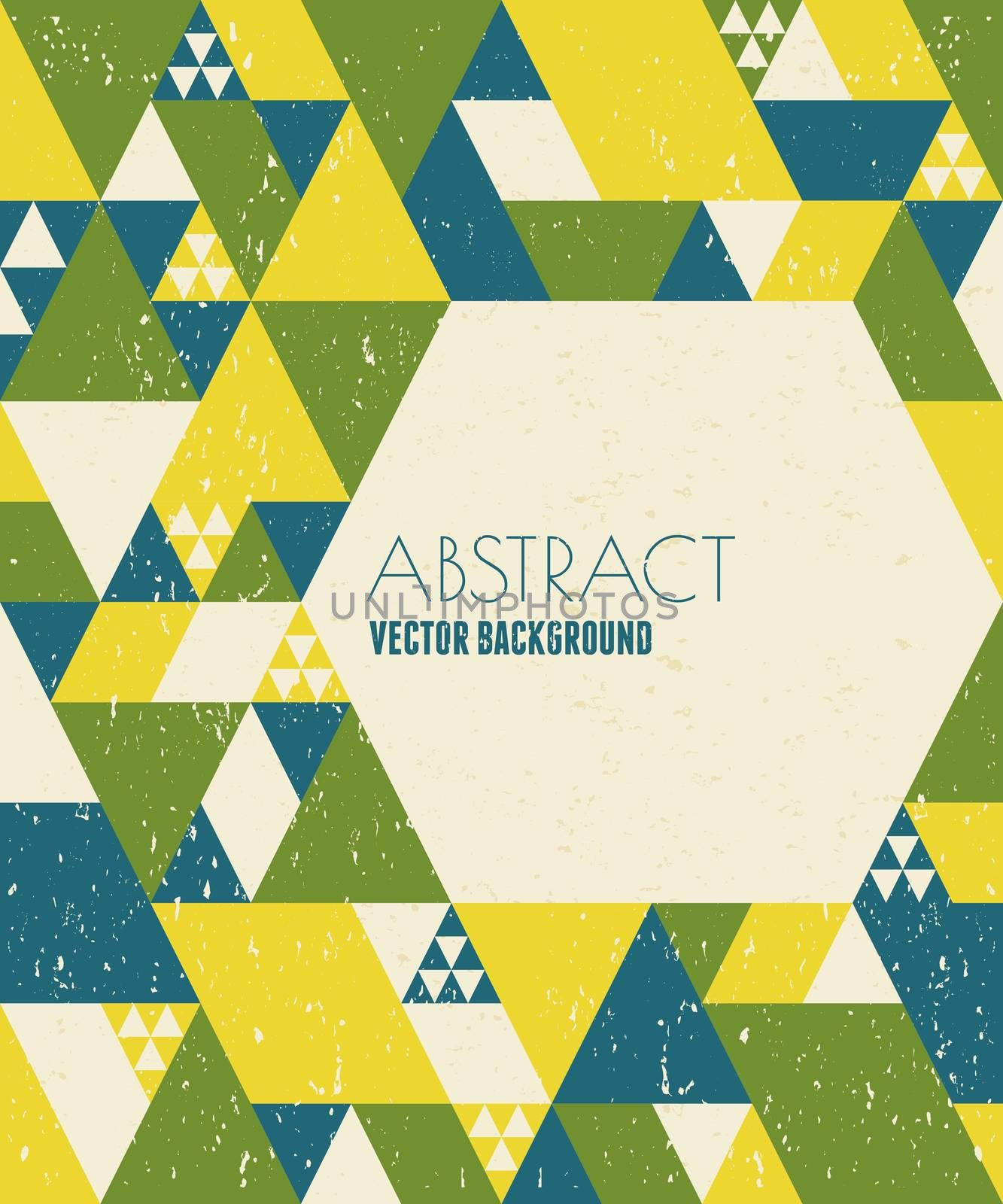 Abstract geometric design in blue, yellow and green with copy space.
