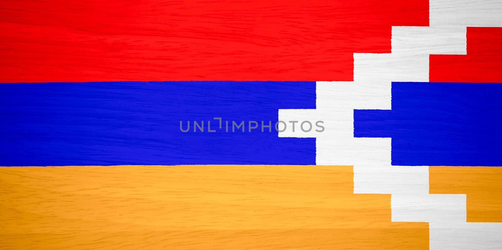Nagorno-Karabakh Republic flag on wood texture