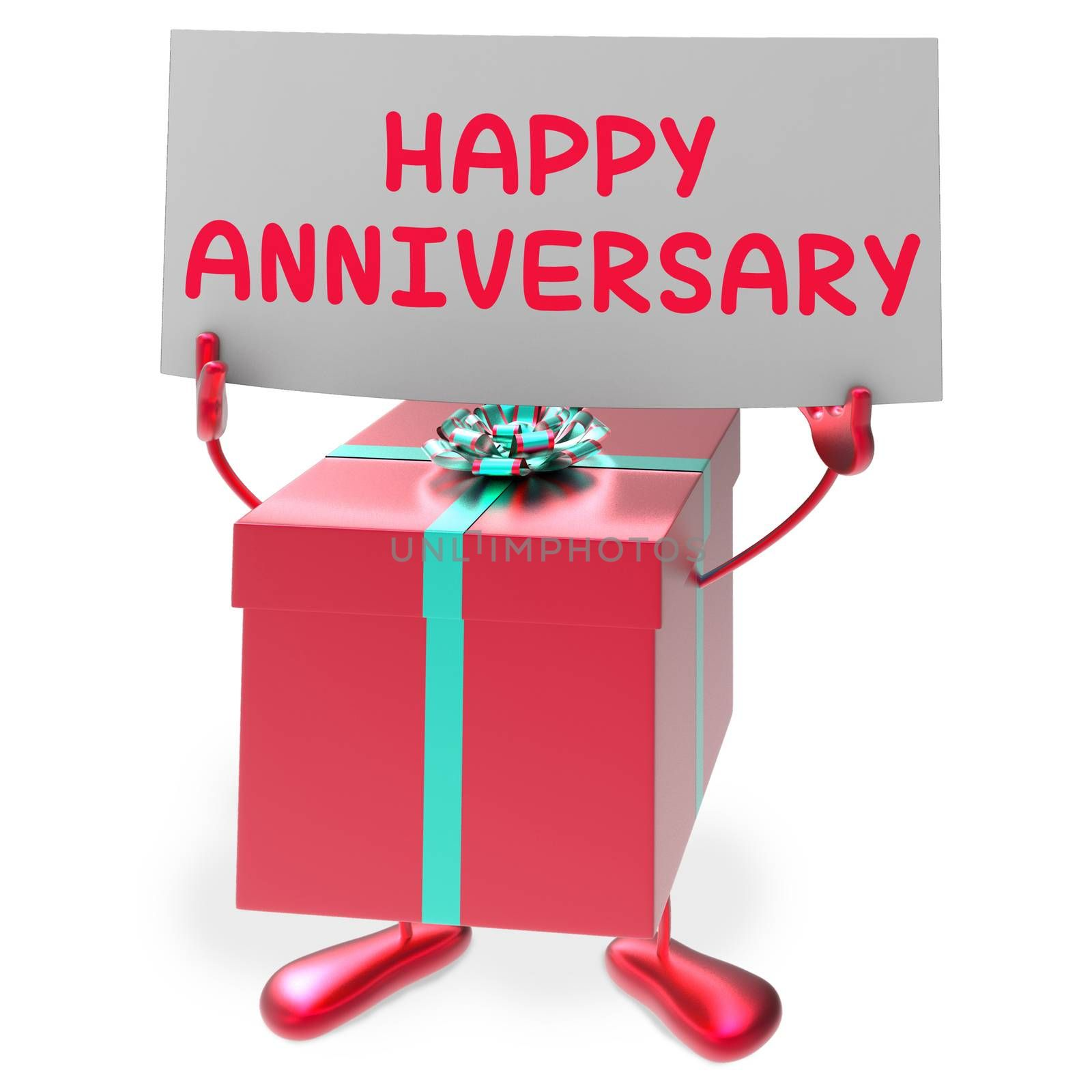 Happy Anniversary Sign and Gift Showing Cheerful Festivities and Parties