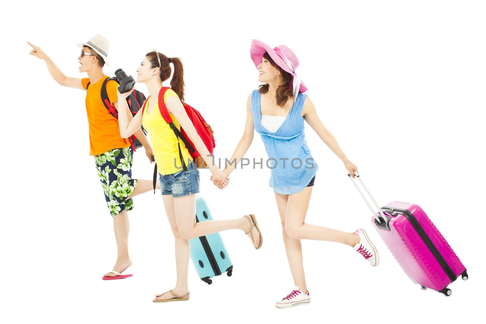 young friends  happy to travel worldwide together