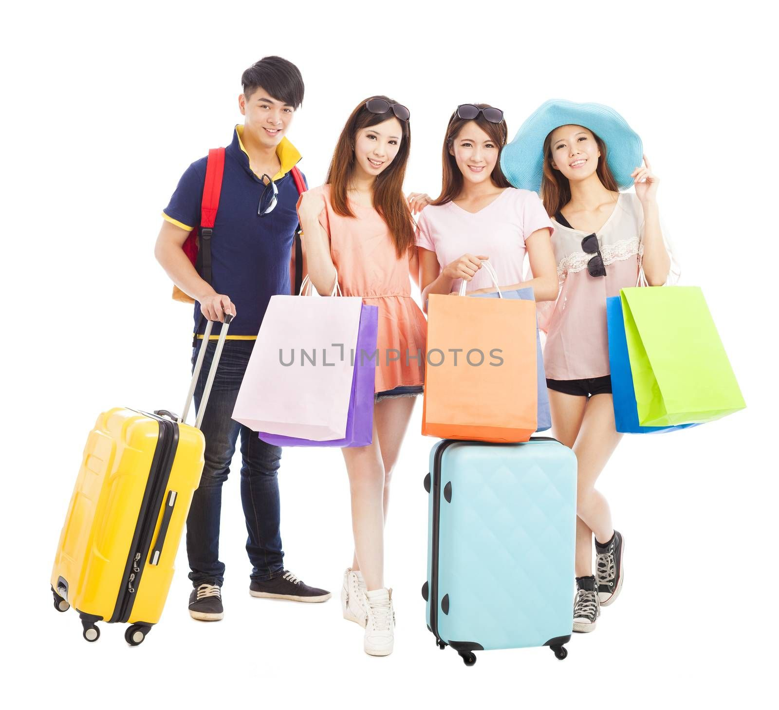 young people travel and shopping together