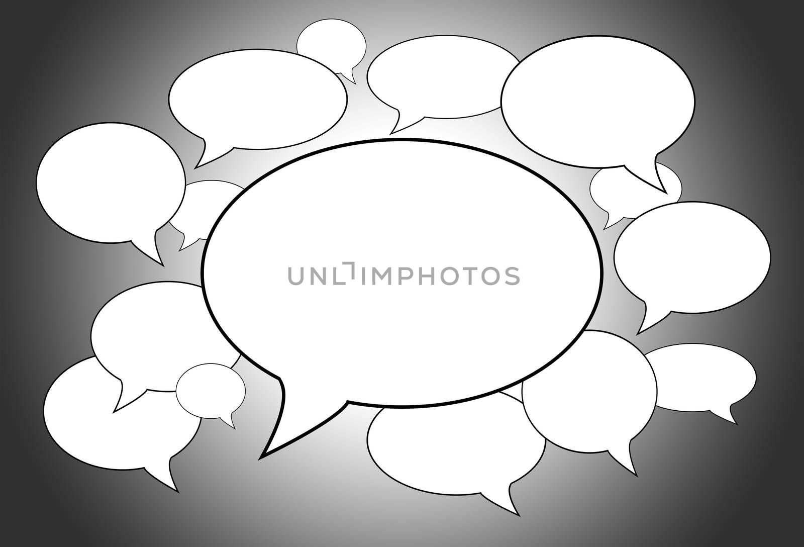 Communication concept - many speech bubbles, a big one in the middle