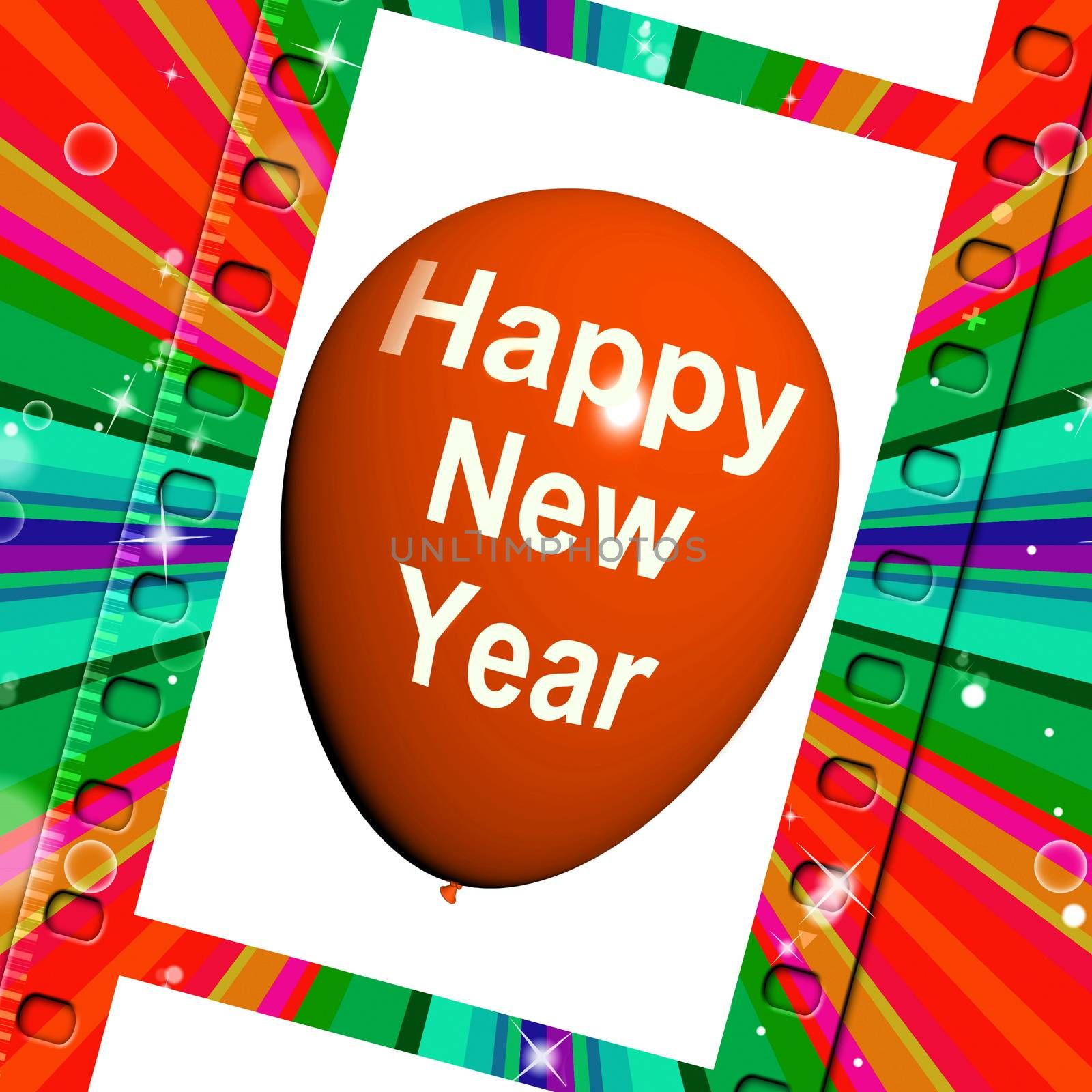 Happy New Year Balloon Showing Parties and Celebrations