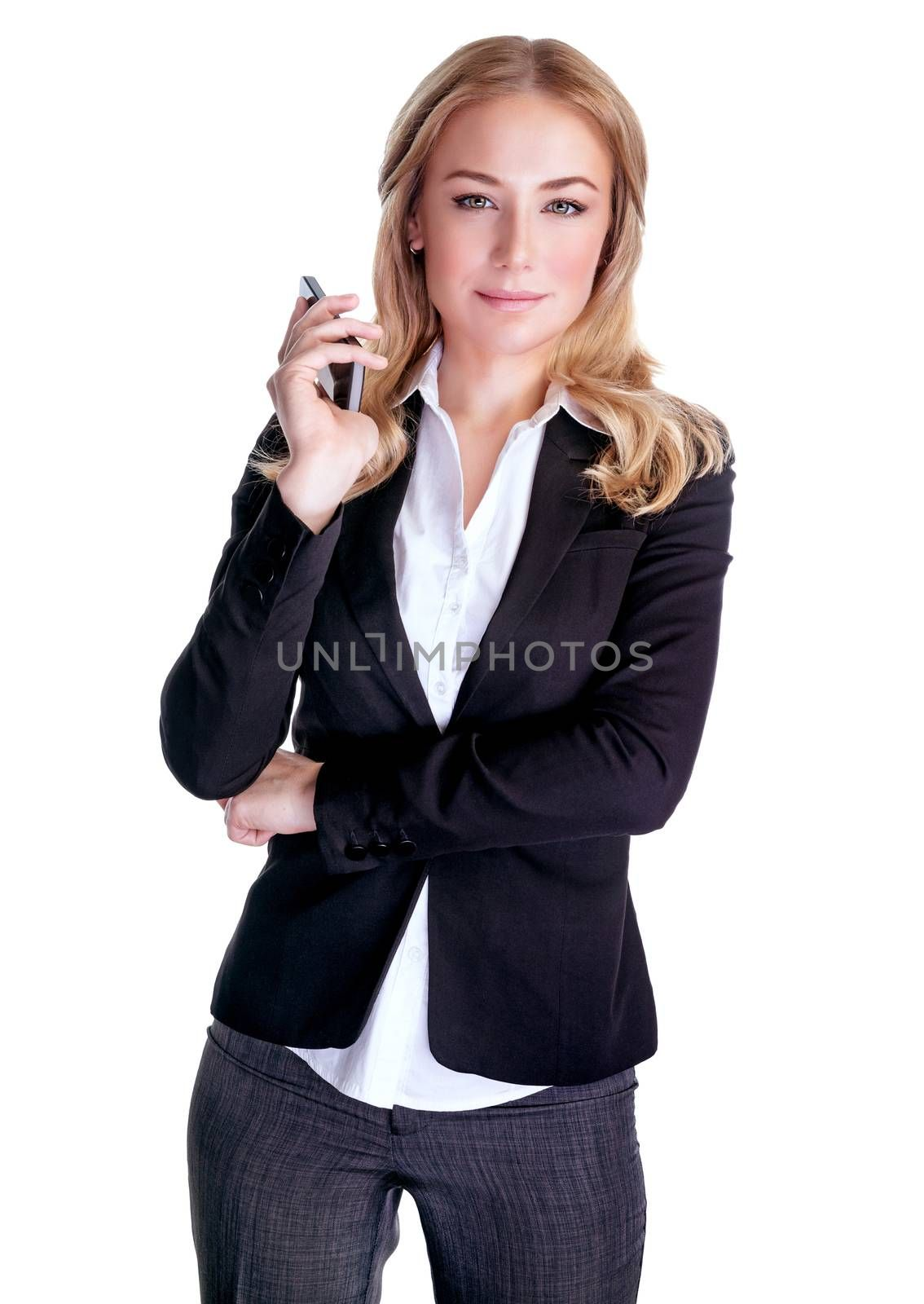 Portrait of young serious female speaking on mobile phone, isolated on white background, business people using portable device, communication concept