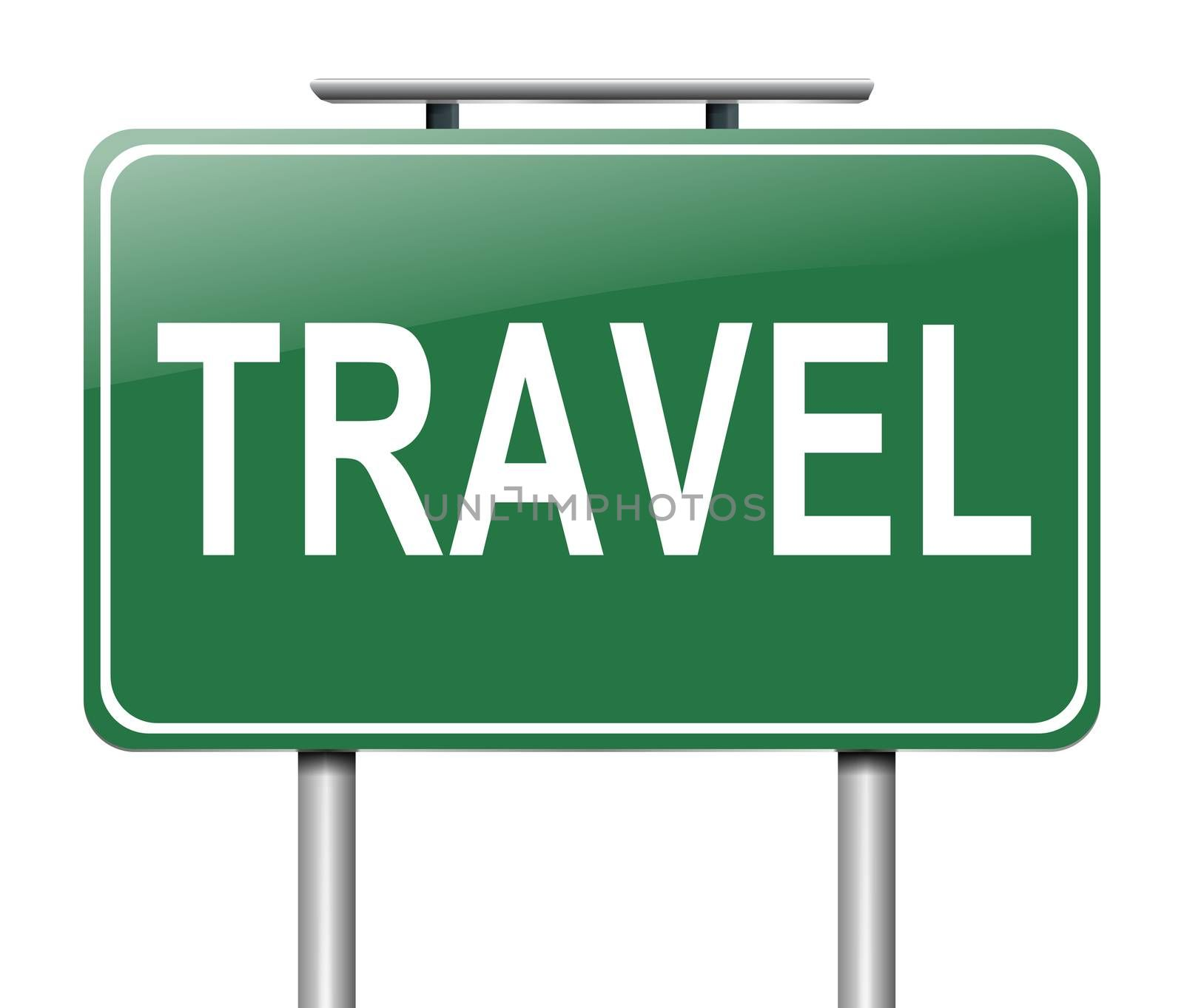 Illustration depicting a sign with a travel concept.