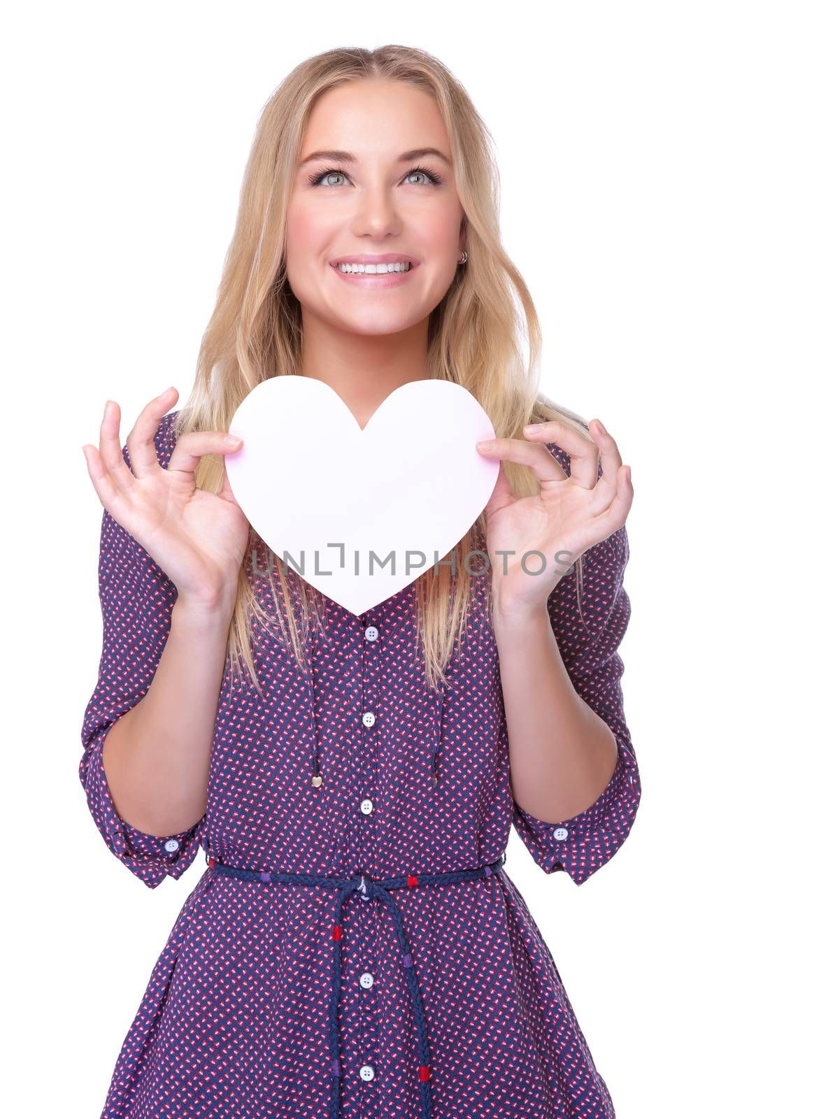 Portrait of cute happy romantic girl with paper heart isolated on white background, Valentine day celebration or cardiology treatment concept