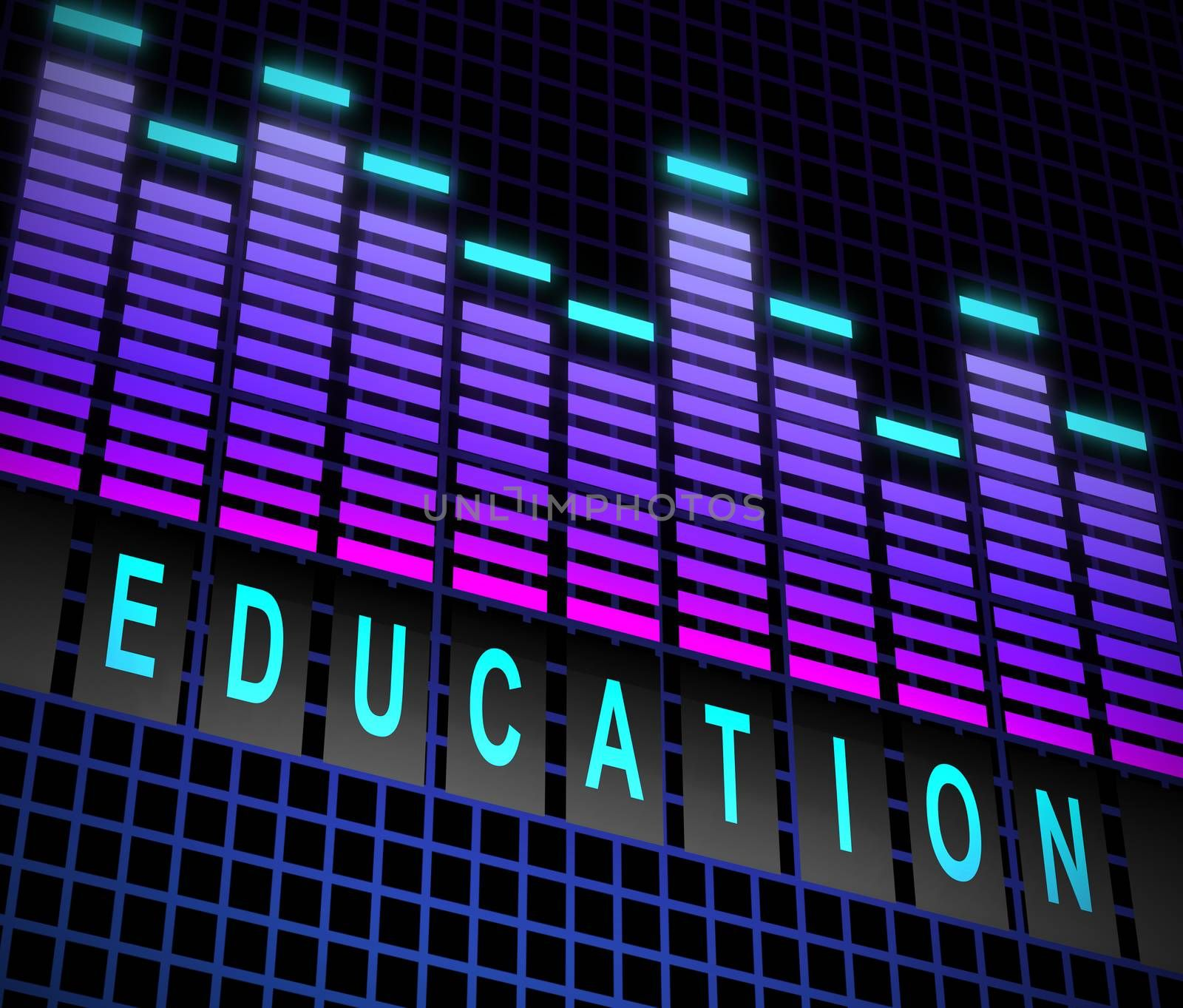 Illustration depicting graphic equalizer levels with an education concept.