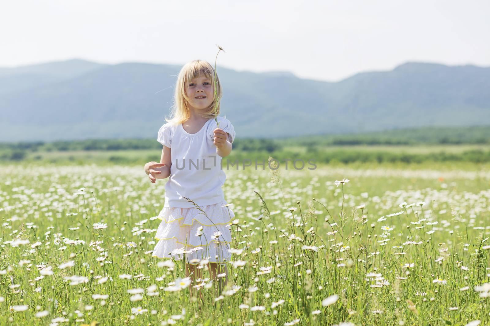 3 years old child walking in flower field