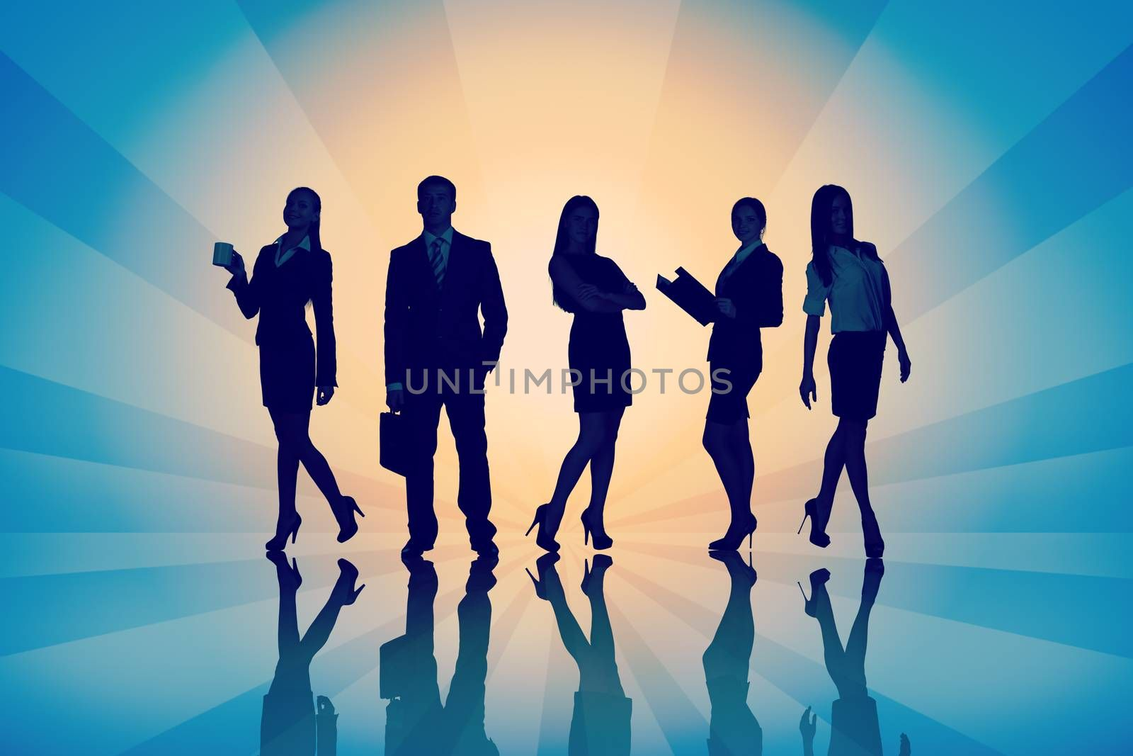 Young attractive business people with four women looking at camera on abstract background with stripes