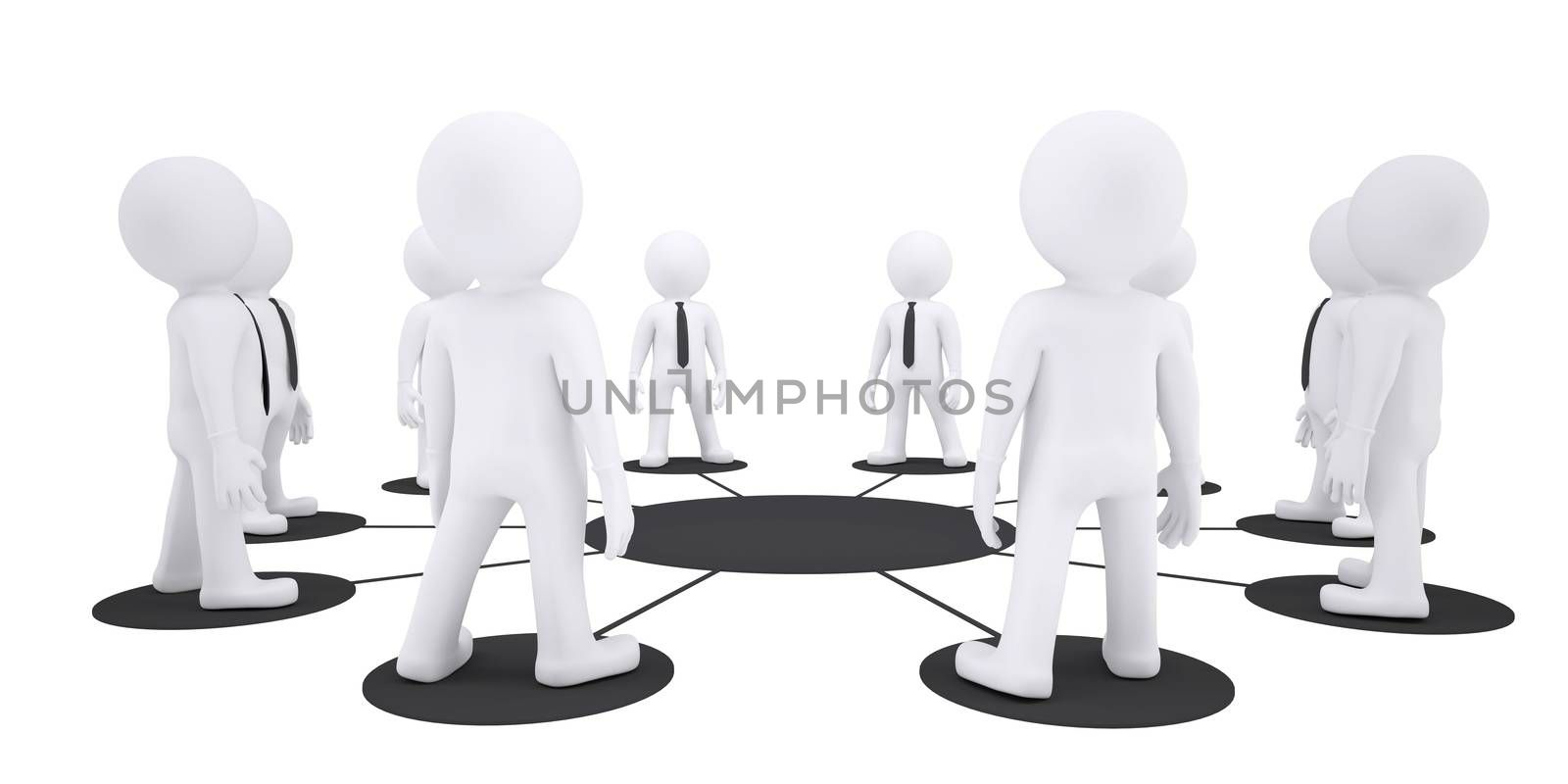 Puppet people around one puppet on isolated white background, side view