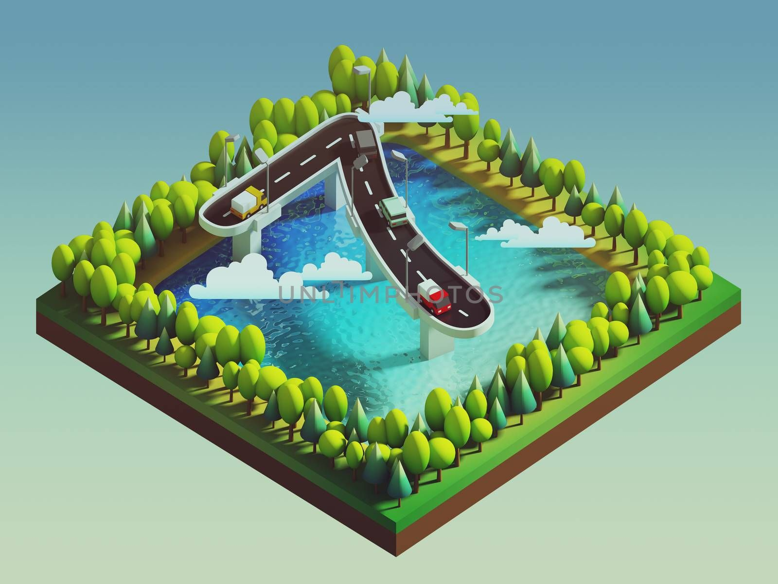 Isometric island transportation, road is number seven