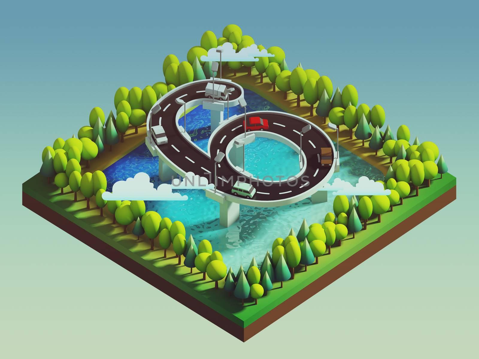Isometric island transportation, road is number six