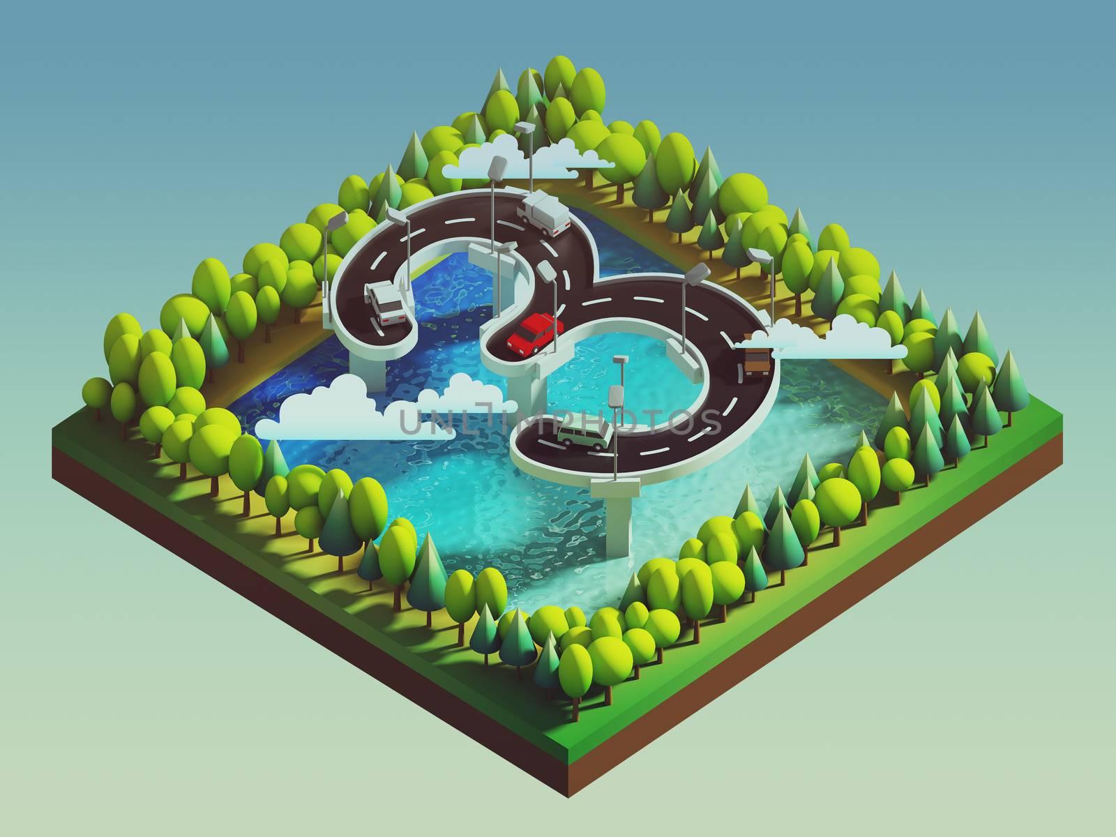Isometric island transportation by teerawit