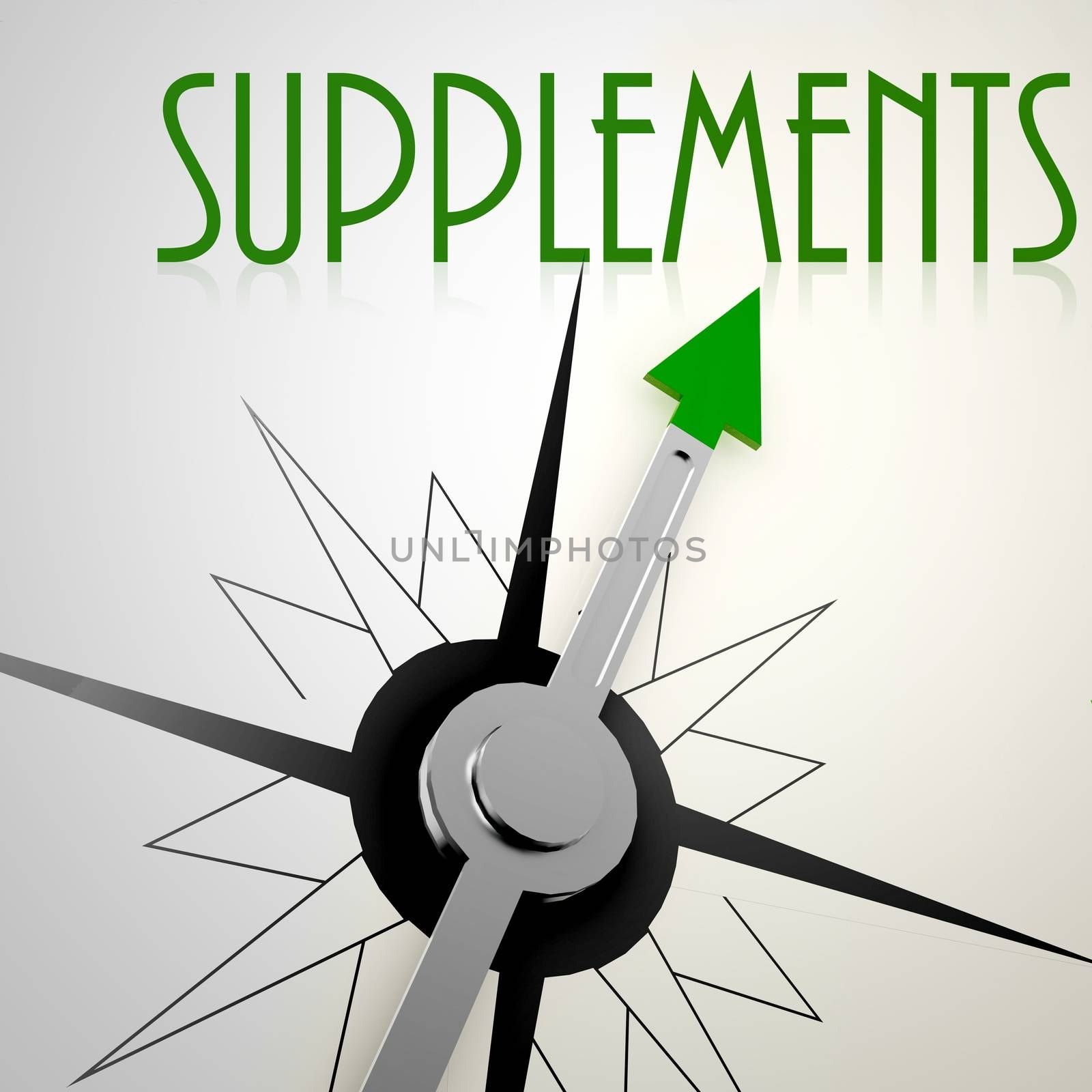 Supplements on green compass. Concept of healthy lifestyle